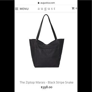 NWT August Zip Top Marais Black Snake Leather Bag